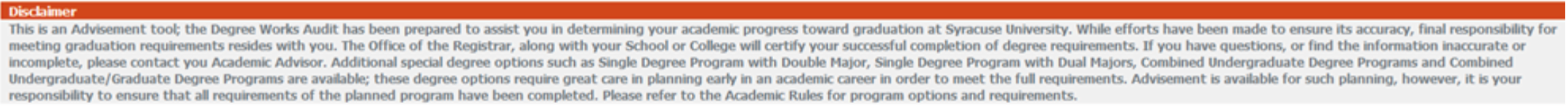 Disclaimer on Degree Works audit