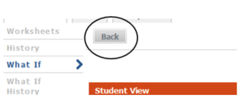 Back button on What-If selection