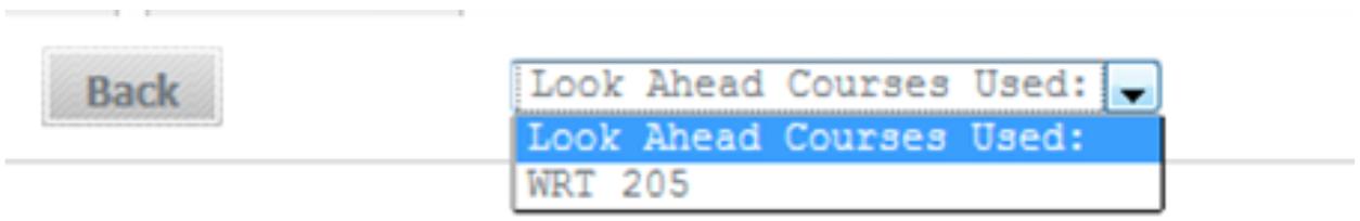 Look Ahead Courses Used dropdown menu option