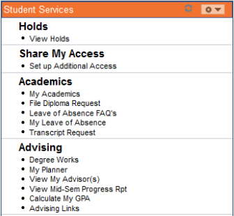 Student Services menu on MySlice